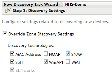 Figure 1:  The Discovery task wizard