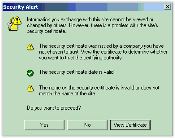 Figure 5:  Web browser certs