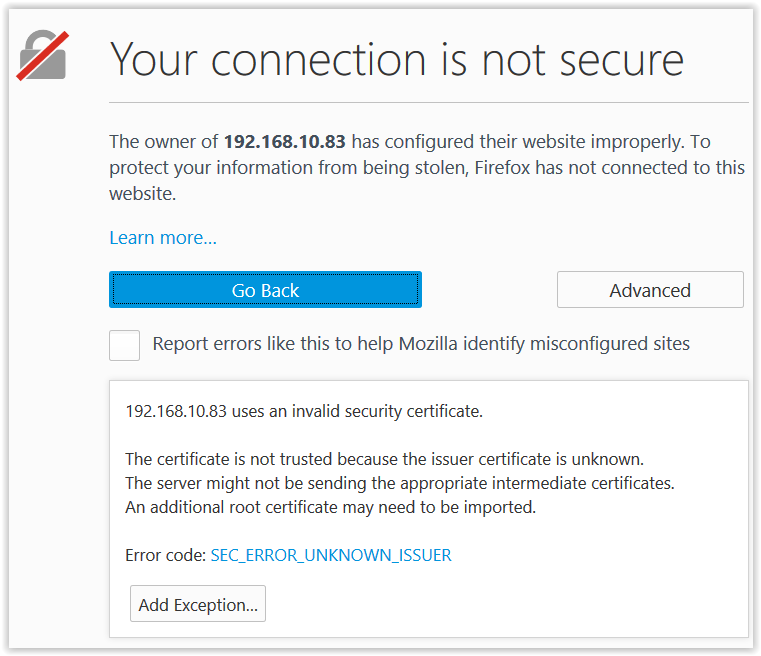 Figure 7:  Unknown Certificate Authority