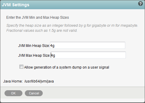 Figure 5:  Setting the Java Heap Size