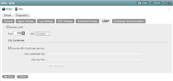 Figure 1:  Defining LDAP services in the MTA object